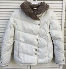 Fera Girls Ski Jacket Size 12 Off White Fur Trim Winter Down Coat EUC