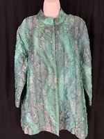 Erin By Erin London Women's Plus Sz 1X Green Blue Crinkle Button Up Jacket EUC