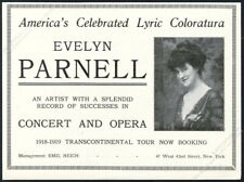 1918 Evelyn Parnell photo opera singing recital booking trade print ad