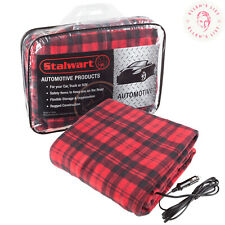 Electric Car Blanket Heated 12 Volt Fleece Travel Throw Warming Soft Red Plaid