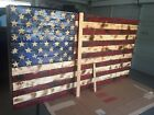 XXL Red White Blue Concealment Cabinet Hand-Carved Rustic Wooden Flag
