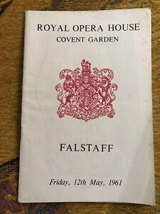 Verdi Falstaff 1961 Opera Programme - Carlo Maria Giulini,  Mirella Freni