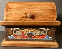 """Noah's Ark Tabletop Wooden Chest """"THEY CAME TWO BY TWO"""" Hand carved & Painted"""