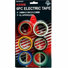 HAWK TAP-EL018 - 6pc Colored Electrical Red White Yellow Black Blue Green Tape