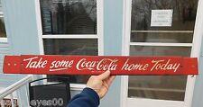 *VERY RARE* ORIGINAL VINTAGE 1950's COCA COLA ADJUSTABLE DOOR PUSH BAR SIGN