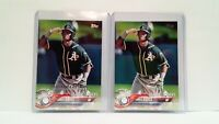 Uncirculated Khris Davis 2018 Topps TIFFANY League Leaders + Matching Topps