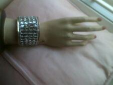 Push on Wrist Style Bangle, Black & Silver Bagle, Costume Jewellery, Unworn