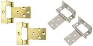 SET OF 2 LARGE CRANKED 50mm SILVER/BRASS FLUSH HINGES Wood Cupboard Door Hang
