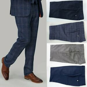 Mens Cavani Tweed Check Pinstripe Smart Casual Formal Fitted Trousers RRP £49.99