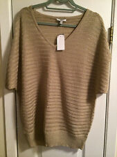 CACHE WOMEN'S GOLD SHIMMER KNIT TOP SIZE L NEW  WITH TAGS