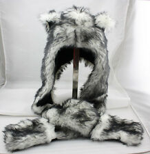 White Wolf Full Hood Faux Fur Hat with scarfs mittens Pockets paws Spirit 3 in 1