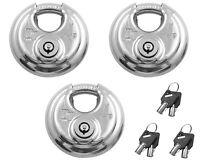 THREE - Diversi Tech Disc Lock Stainless Steel Barrel Tube Key Trailer Door KA