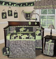Baby Boutique - Animal Planet (Lime) - 14 pcs Crib  Bedding Set incl. Lamp Shade