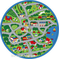 8x8 round rug play road driving time street car kids city fun time size 73 new