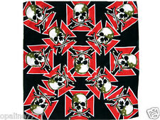 HEAD WRAP BANDANA SKULL SKULL CROSS OF MALTA HARLEY DAVIDSON BIKER CHOPPERS