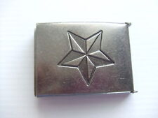 Antique Nickel Finish Star Flip Top Military Web Belt Buckle 1-1/2