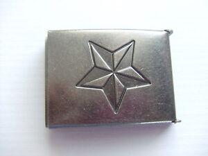 "Antique Nickel Finish Star Flip Top Military Web Belt Buckle 1-1/2"""