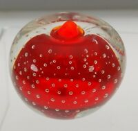 VTG Art Glass Red to Clear Bubble Apple Paperweight