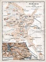 Perugia Pérouse 1904 picc. piantina città orig. + guida fr. (9 p.) Cassimensi