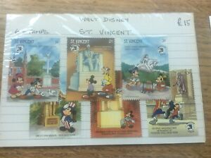 6 unused stamps St Vincent Statue Monument Walt Disney Mickey Minnie Mouse Goofy