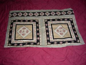 Floral Pillow Quilt Squares Black,Tan, Rose -  Vintage