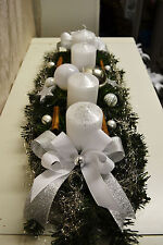 excl. Adventskranz weiß silber 60 cm künstlich Weihnachten Adventsgesteck Deko