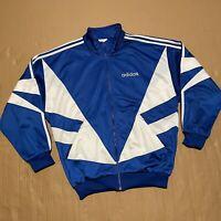Men's Vintage 90s Blue/White Adidas Full Zip Through Track Jacket Size M