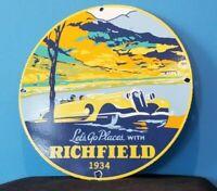 VINTAGE RICHFIELD GASOLINE PORCELAIN GAS OIL SERVICE STATION CALIFORNIA SIGN