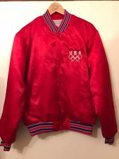 VINTAGE RARE TEAM USA OLYMPIC Bomber Jacket Coat in Raso MEDIUM 90 S Hipster