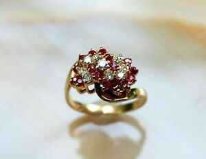 2Ct Round Cut Ruby & Diamond Cluster Ring For Women's 14K Yellow Gold Finish