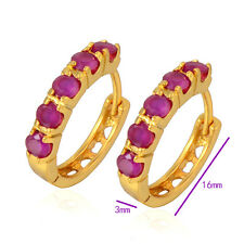 Shiny Yellow Gold Filled Flawless Red Ruby Women's Hoop Earrings 16*3mm