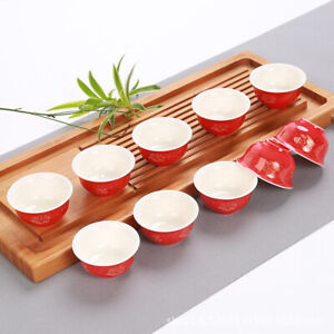 10pcs tea cups under glaze floral print porcelain kungfu tea cup small 1.5oz cup