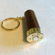 Eley Shotgun Shell Cartridge Cap Solid Walnut wood And Swarovski Crystal Keyring
