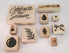 Stampin Up Celebrate the Season Retired 10 stamps Christmas Holiday ornament bow