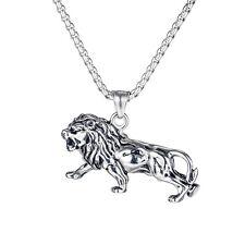Edelstahl Löwe Anhänger Kette Männer Halskette HipHop Lion Schmuck Herren Silber
