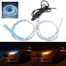 2x 30cm Car Daytime Running Light ice Blue + Amber Flowing LED DRL Turn Signal