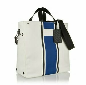 New Authentic BOTTEGA VENETA LATTE COBALT VIALINEA CANVAS Oversized TOTE Bag