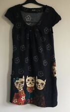 Cherry Ladies Short Sleeve Grey Dress With Floral & Cat Print Detail, Size S