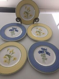 """Pagnossin Italy Treviso Ironstone Salad Plate(s) 1/8"""" X 5 Including Stand"""