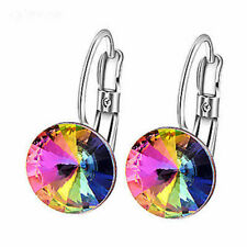 AB Color Crystal Round Stone Silver Womens Hoop Earrings Fashion Jewelry Earings
