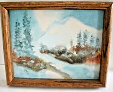 Lovely Vintage OIL PAINTING Signed M.S. of a Winter Scene