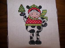 COMPLETED CROSS STITCH CHRISTMAS ORNAMENT OR QUILT SQUARE COW WITH XMAS TREE