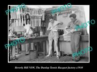 OLD 8x6 HISTORIC PHOTO OF BEVERLY HILLS NSW DUNLOP TENNIS RACQUET FACTORY 1930