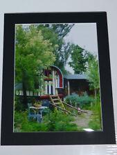 "Gypsy caravan in Summer Mounted Print 12x10"" with black mount Romany Vardo Wagon"