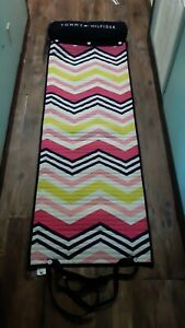 Tommy Hilfiger Quilt Rollup Beach Pool Lounge Pillow Mat Blanket Strap YOGA