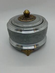 Antique Thorens Silverite Music Box Powder Compact Dresser Box Working