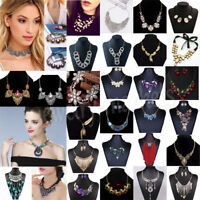 Fashion Women Crystal Choker Necklace Pendant Chain Bib Chunky Statement Jewelry