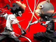 Manga Anime Afro Samurai Sword Bear Fight Action Canvas Art Print