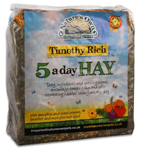 NATURE'S OWN 5 A DAY NATURAL TIMOTHY HAY SMALL ANIMAL PET FORAGING FEED BEDDING