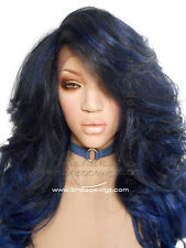 Rhaine loose curl lace front wig, Kim Kardashian lace front wig yonce hair blue